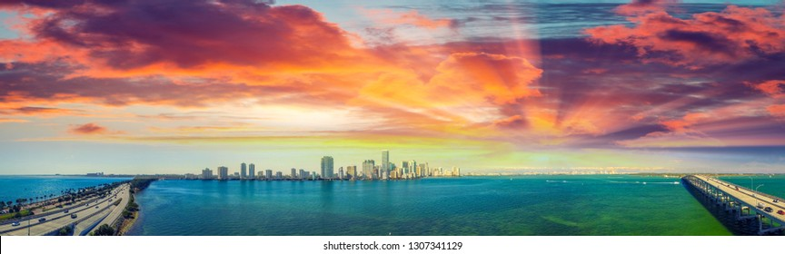 Miami. Rickenbacker Causeway and Downtown aerial view at dusk.