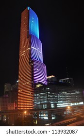 MIAMI - SEPTEMBER 21: A new LED lighting system on the Miami Tower Miami lets the building change colors quickly and display multiple, changing patterns on the building, September 21, 2012 Miami.