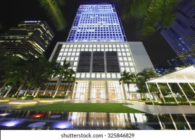 MIAMI - SEPTEMBER 25: Night photo of Brickell World Center located at 600 Brickell Avenue and was completed in 2011 at a height of 520 feet September 25, 2015 in Miami FL