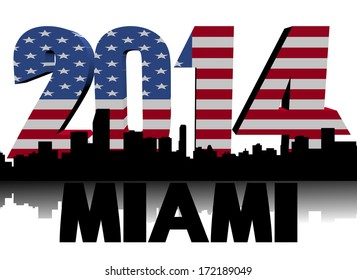 Miami skyline with 2014 American flag text illustration