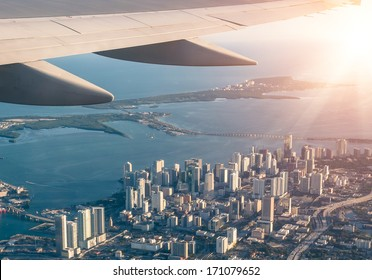 Miami skyline from the airplane - Aerial view
