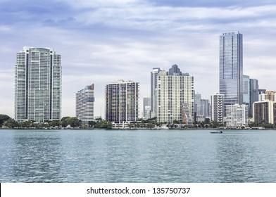 Miami skyline from Biscayne Bay, Florida
