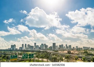 Miami skyline and highways - Daytime