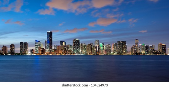 Miami Skyline seen from Key Biscayne at dusk