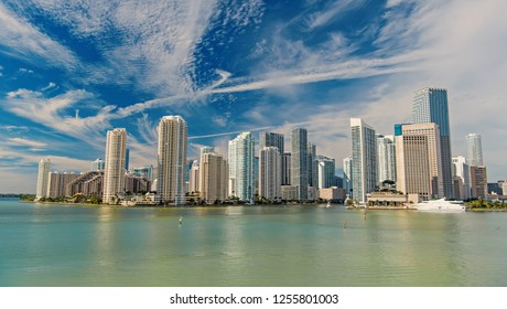 Miami skyline skyscrapers ,yacht or boat next to Miami downtown, Aerial view, south beach