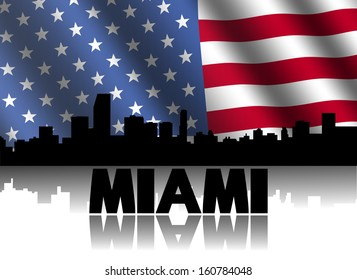 Miami skyline and text reflected with rippled American flag illustration