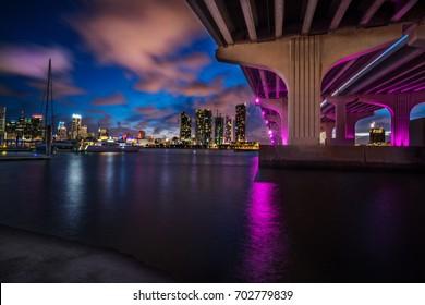 Miami Skyline from under the Bridge