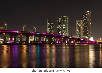 Miami Skyline from Venetian Way at night.