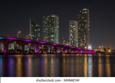 Miami Skyline from Venetian Way at night.