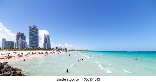 Miami South Beach in Florida with luxury apartments and waterway