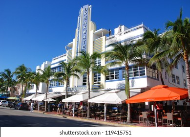 MIAMI SOUTH BEACH FLORIDA, USA - OCTOBER 29: Ocean drive buildings october 29 2012 in Miami Beach, Florida. Art Deco architecture in South Beach is one of the main tourist attractions in Miami.