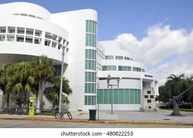 MIAMI - SOUTH BEACH - FLORIDA - USA - OCTOBER 29: Police department building October 29 2012 in Miami Beach, Florida. Art Deco architecture in South Beach is one of the main tourist attractions.