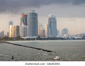 Miami South Beach skyline ina sunset light (Florida).