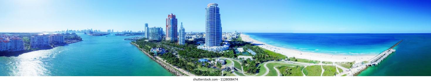 Miami South Pointe - Sunset aerial panorama.