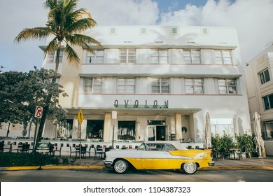 MIAMI, UNITED STATES OF AMERICA - MAY 1st: Ocean Drive Art deco Buildings, Avalon Hotel on MAY 1, 2017 in MIAMI, UNITED STATES OF AMERICA