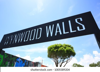Miami, United States - august 28, 2017: Wynwood Walls sign, Miami. Wynwood Walls is a Unique outdoor destination featuring huge, colorful street murals by artists from around the globe