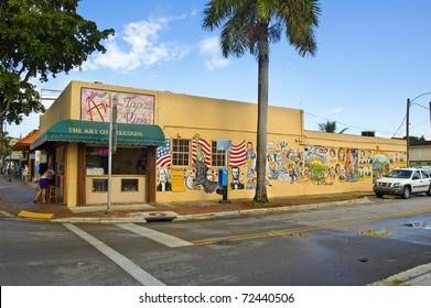 MIAMI, US - AUGUST 28: Freedom Wall in Little Havana on August 28, 2009 in Miami, US. The wall pays tribute to Celia Cruz, Tito Puente or Selena, and Latin and American heroes such as Lincoln or Dario