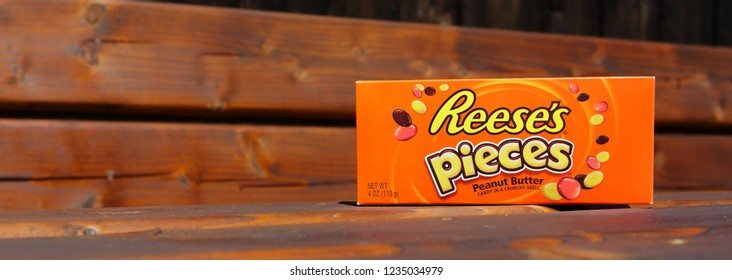 MIAMI, US, May, 19, 2015 Box of Reese's Pieces Candy. Reese's is a candy company owned by the Hershey Company
