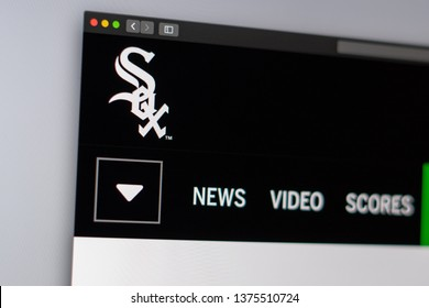 Miami / USA - 04.20.2019: Baseball team Chicago White Sox website homepage. Close up of team logo. Can be used as illustrative for news media or other websites, good for info or marketing concept.