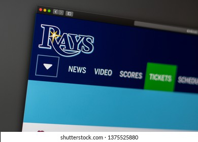 Miami / USA - 04.20.2019: Baseball team Tampa Bay Rays website homepage. Close up of team logo. Can be used as illustrative for news media or other websites, good for info or marketing concept.