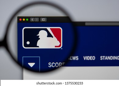 Miami / USA - 04.20.2019: Major League Baseball website homepage. Close up of MLB logo. Can be used as illustrative for news media or other websites, good for info or marketing concept.
