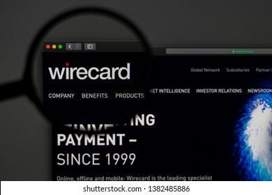 Miami / USA - 04.28.2019: Wirecard company website homepage. Close up of Wirecard logo. Can be used as illustrative for news media or other websites, good for info, business or marketing concept.