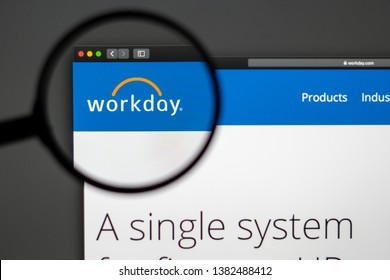 Miami / USA - 04.28.2019: Workday company website homepage. Close up of Workday logo. Can be used as illustrative for news media or other websites, good for info, business or marketing concept.