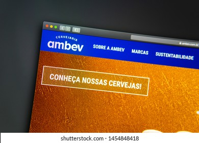 Miami / USA - 07.18.2019: Ambev company website homepage. Close up of Ambev logo. Can be used as illustrative for news media or other websites, good for business or marketing concept.