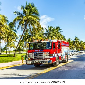 MIAMI, USA - AUG 1, 2013: fire brigade on duty in South Beach in Miami, USA. They are responsible for Fire Suppression,fire plans medical incidents, Fire and ocean rescue and 29 lifeguard towers.