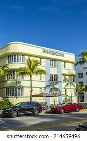 MIAMI, USA - AUG 20, 2014:  view at Ocean drive to Hotel Barbizon in Miami, USA.  The Barbizon is located at 530 Ocean Drive in the world famous Art Deco District.