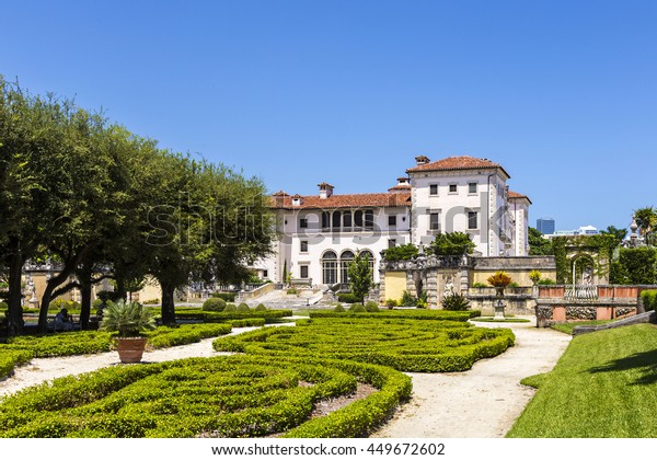 MIAMI, USA - AUG 24, 2014: Vizcaya, Floridas grandest residence, once belongs to millionaire industrialist James Deering, is in downtown Miami, Florida, USA.