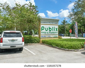 MIAMI, USA - AUGUST 22, 2018: Publix store logo. Publix Super Markets is an employee-owned, American supermarket chain headquartered in Lakeland, Florida.