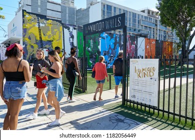 MIAMI, USA - AUGUST 22, 2018: Wynwood Walls Miami graffiti. Wynwood is a neighborhood in Miami, Florida known for its graffiti and street art.