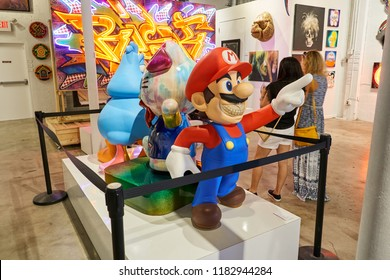 MIAMI, USA - AUGUST 22, 2018: Wynwood Walls Miami Super Mario. Wynwood is a neighborhood in Miami, Florida known for its graffiti and street art.