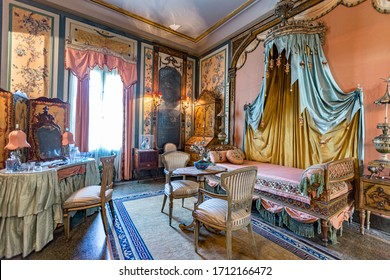 Miami, USA - August 24, 2014: visiting the villa Vizcaya in Miami. Vizcaya Museum and Gardens is a 1916 waterfront estate home with 32 decorated rooms and 10 acres of formal gardens.