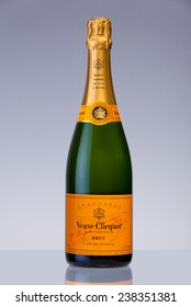 MIAMI, USA - December 17, 2014: Bottle of Veuve Clicquot Ponsardin Premium Champagne arrive in time for the Holiday Season. Veuve Clicquot Ponsardin is a French champagne house based in Reims.