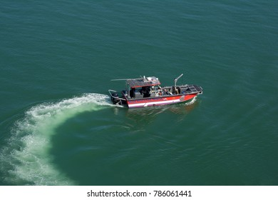 MIAMI, USA - DECEMBER 22, 2017: A fire rescue boat in the water.