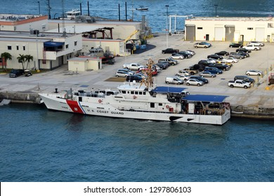Miami, USA - December 22, 2018: US Coast Guard cutter awaits next mission in the USCG base Miami, Florida