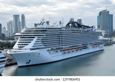 Miami, USA - December 22, 2018: MSC Seaside cruise ship prepares for departure from Miami to a weeklong Caribbean voyage