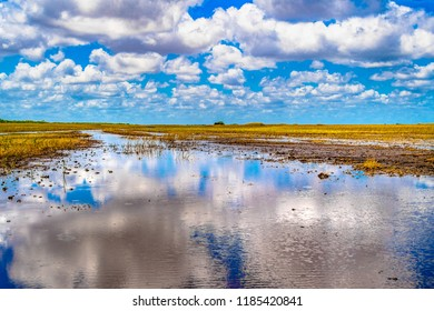 Miami, USA: The Everglades swamp channels without mangroves and reflections of clouds in the water.