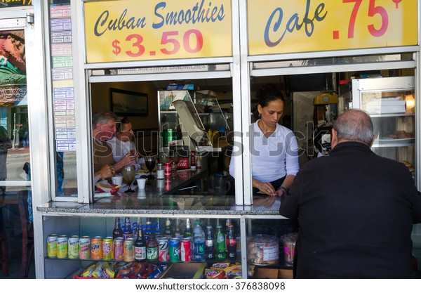 Miami, USA - February 15, 2015: typical cuban bar at Calle Ocho, the center of the Cuban community in Little Havana in Miami United States