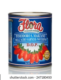 MIAMI, USA - JAN 26, 2015: 28 oz. Flora San Marzano Tomatoes. Authentic Italian Tomato. No cholesterol. This product contains lycopene, an antioxidant that promotes health. All natural.