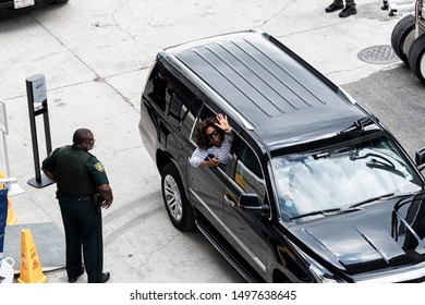 Miami, USA - January 2019: Oprah Winfrey waving from car window in Miami after baptism of cruiseship
