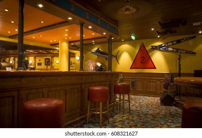 MIAMI, USA - JULY 02, 2015: empty bar in nautical style on a modern cruise ship cruising on Caribbean sea