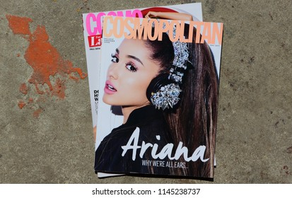 MIAMI, USA - JULY 05, 2018: stack of US edition of magazine Cosmopolitan witch ARIANA on cover, top US edition.