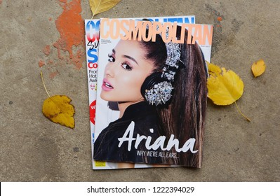 MIAMI, USA - JULY 05, 2018: stack of US edition of magazine Cosmopolitan witch ARIANA on cover, top US edition and fly