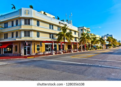 MIAMI, USA - JULY 31, 2010: beautiful houses in Art Deco style in South Miami at ocean drive in the famous art deco district.