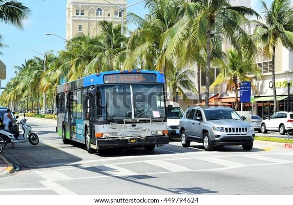 Miami U.S.A. - July 7 2016 - Public bus Miami beach zone