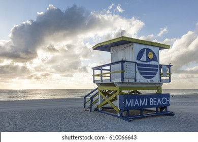 MIAMI, USA - MAR 10, 2017: Art Deco life guard tower at the Miami South Beach. Florida, United States