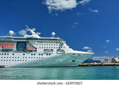 MIAMI, USA - MARCH 18, 2017 : Empress of the Seas cruise ship docked in Miami port. Empress of the Seas  is operated by Royal Caribbean International